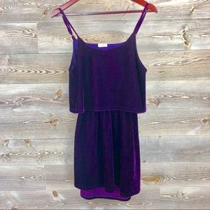TOBI catch the breeze velvet purple skater dress